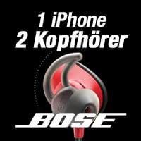 Musik wiedergeben auf zwei Bose-Bluetooth-Kopfhörern