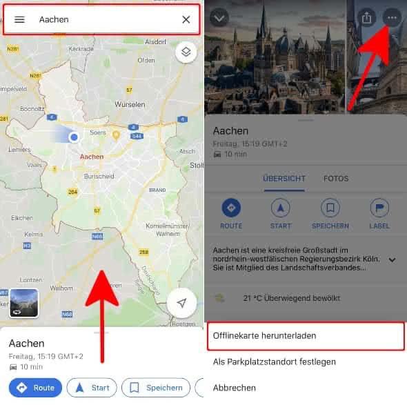 """Ort eingeben, Detailansicht öffnen und """"Offlinekarten"""" wählen in Google Maps"""