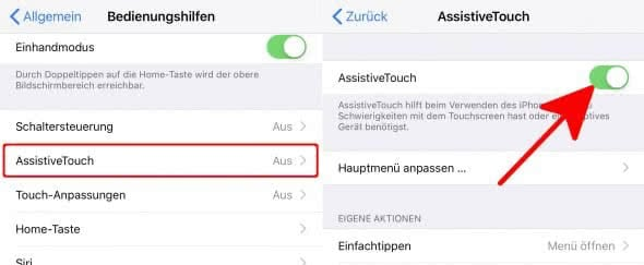 AssistiveTouch aktivieren am iPhone