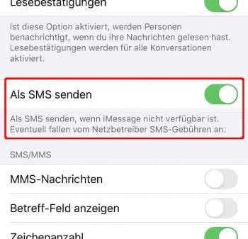 iMessage als SMS senden