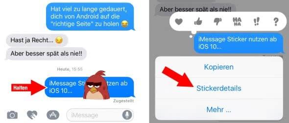 Nachrichten-Sticker in iMessage entfernen