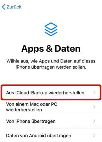 """In der """"Apps & Daten""""-Ansicht auf """"Aus iCloud-Backup wiederherstellen"""" tippen"""