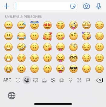 Emoji Tastatur auf dem iPhone