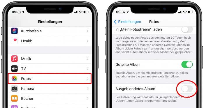 Ausgeblendetes Album deaktivieren in der Einstellungen-App