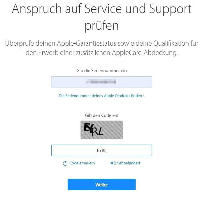 iPhone Garantiestatus überprüfen auf der Apple-Webseite