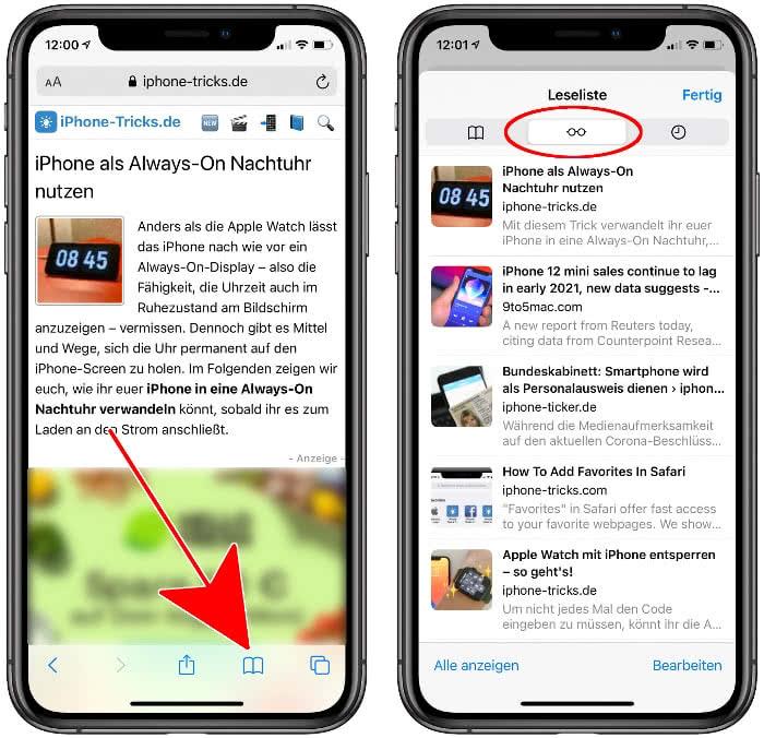 Leseliste anzeigen am iPhone