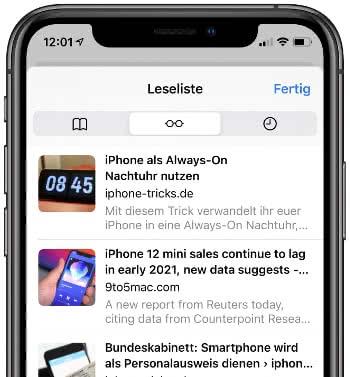 Safari-Leseliste auf dem iPhone