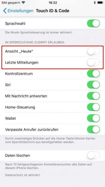 iPhone Mitteilungszentrale im Sperrbildschirm deaktivieren