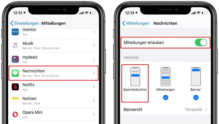 Mitteilungen für Nachrichten-App im iPhone-Sperrbildschirm deaktivieren