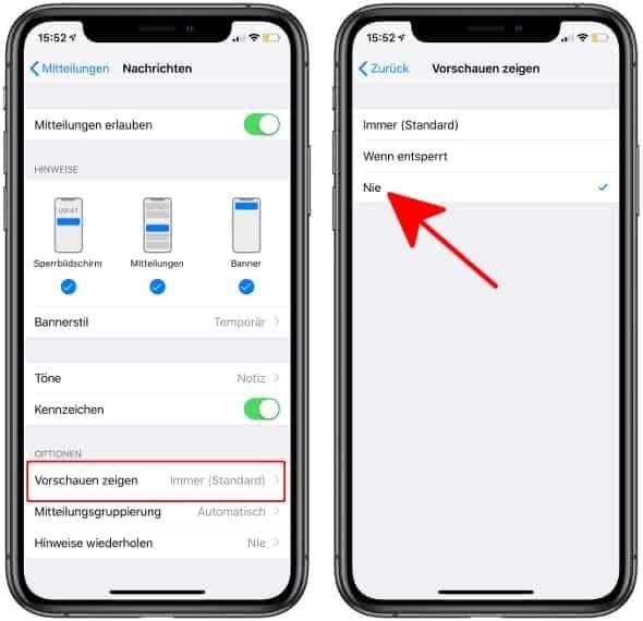 Nachrichten-Vorschau deaktivieren auf dem iPhone
