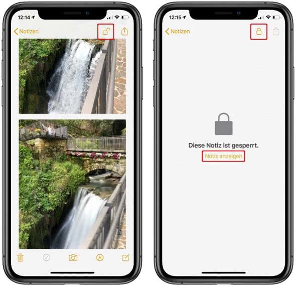 Fotos sperren in der Notizen-App am iPhone