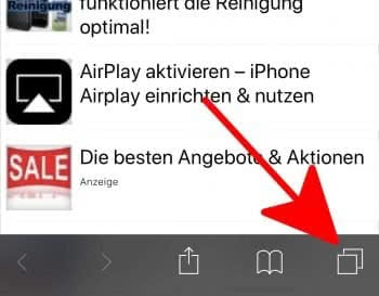 Tabs-Button drücken im Safari Browser