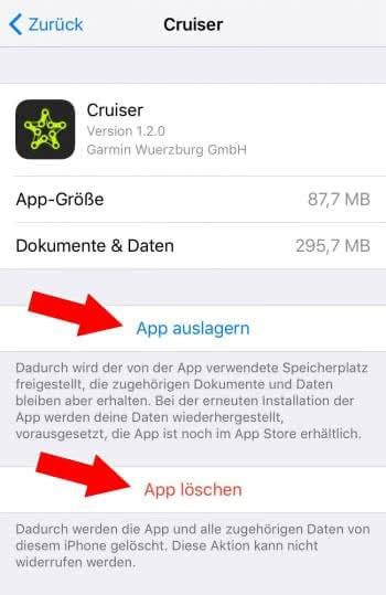 Apps mit hohem Speicherbedarf löschen oder auslagern