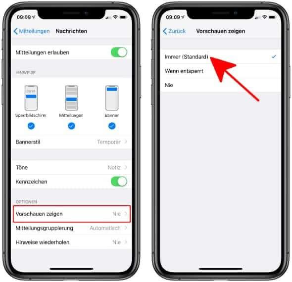 Vorschau einer iMessage-Nachricht am iPhone-Sperrbildschirm anzeigen