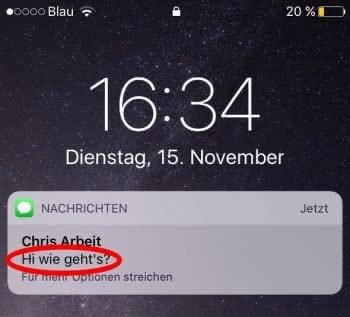 Vorschau einer iMessage-Nachricht am iPhone Lockscreen