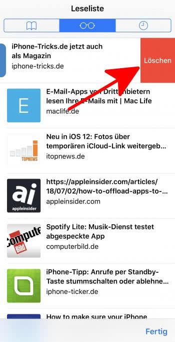 Artikel aus Leseliste löschen auf dem iPhone