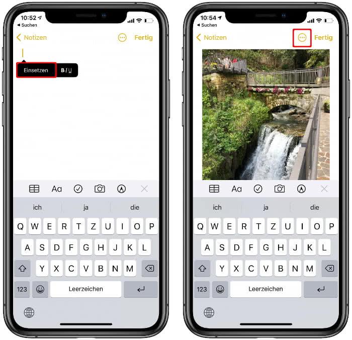 Fotos einsetzen in der Notizen-App