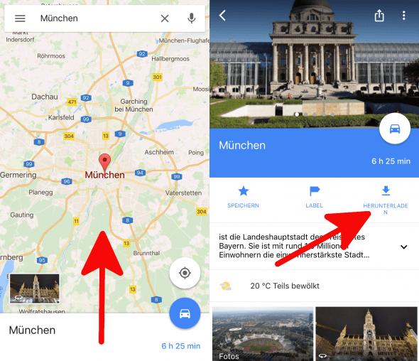 Offlinekarten Google Maps 1