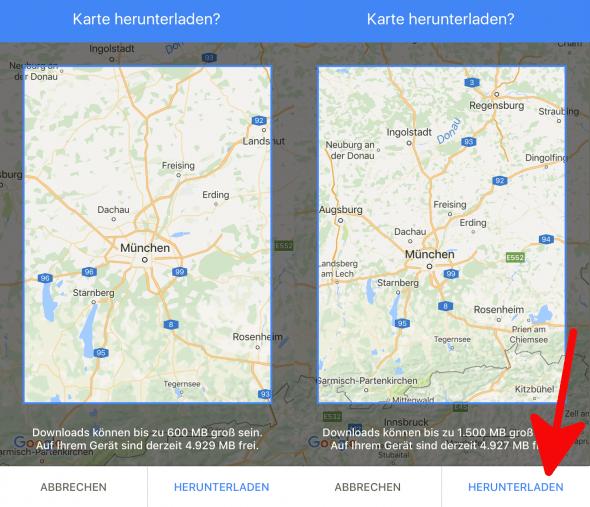 Offlinekarten Google Maps 2