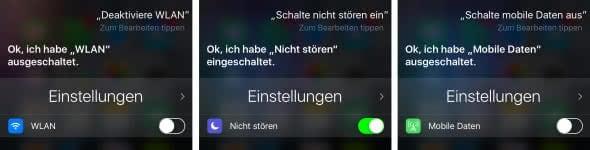 Einstellungen mit Siri aktivieren und deaktivieren
