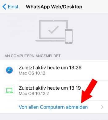 WhatsApp-Verbindungen mit anderen Geräten beenden