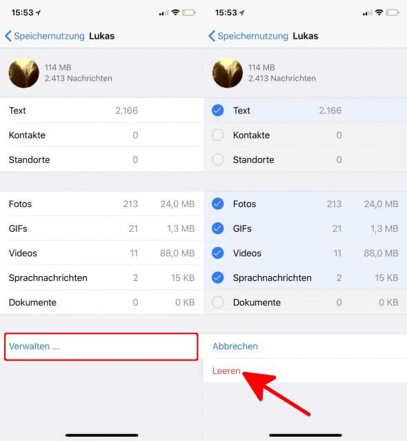 WhatsApp Chatverläufe von Bildern, Videos, usw. befreien und Speicherplatz sparen