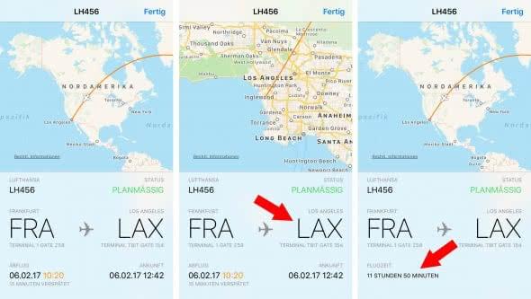 Flug Tracking in Nachrichten App