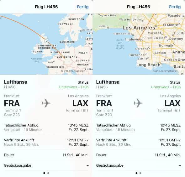 Flug verfolgen in der Nachrichten-App