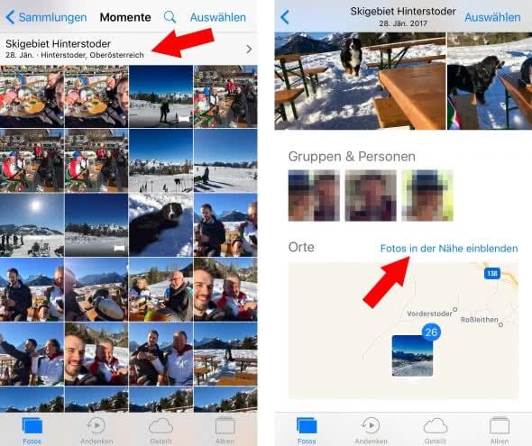 iPhone Fotos nach Ort sortieren