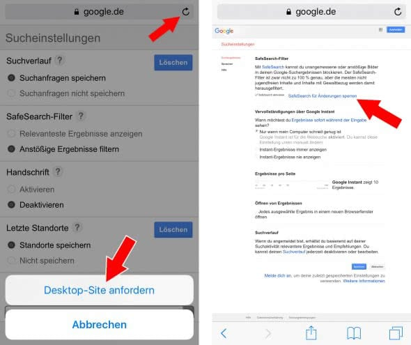 Google SafeSearch für Änderungen sperren