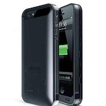 Schwarzes Batter Case für das iPhone SE von vorne und hinten