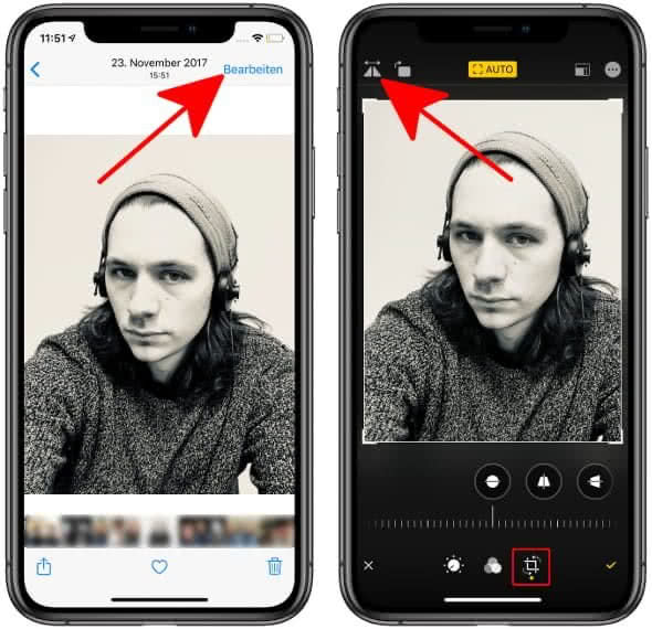 Selfies spiegeln in der Fotos-App am iPhone
