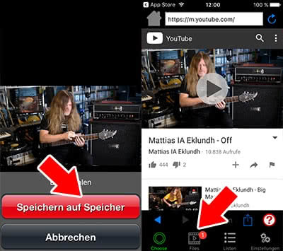 Youtube-Video speichern in Video Fly Lite-App