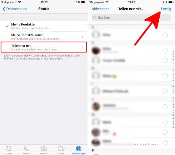 WhatsApp Status deaktivieren
