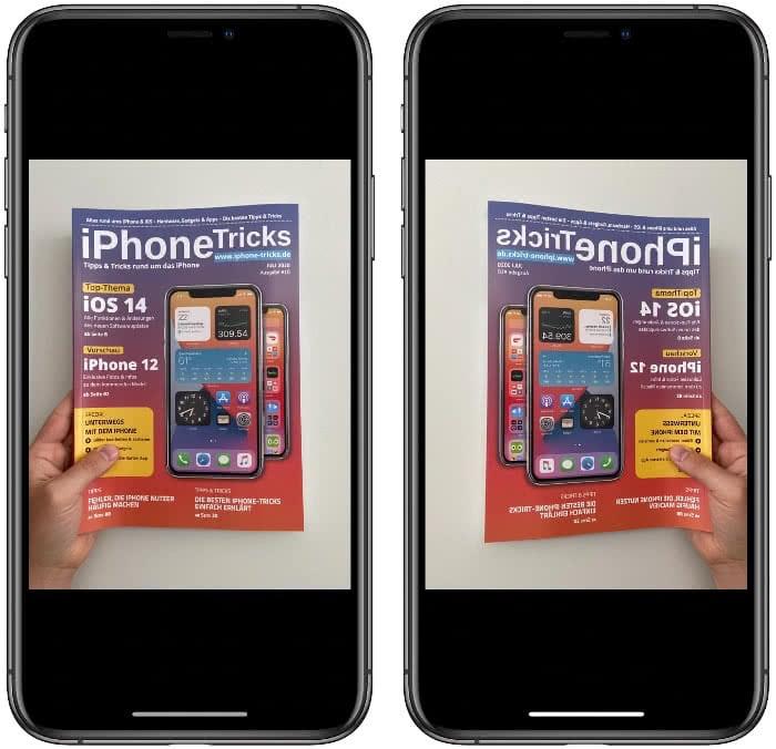 Normales und spiegelverkehrtes Bild auf dem iPhone