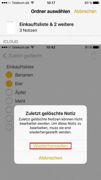Notizen auf dem iPhone wiederherstellen