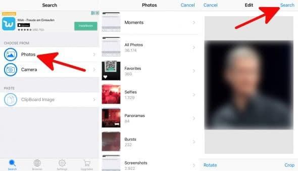 Rückwärtssuche google ios bilder Bilder per