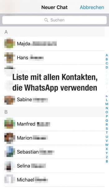 Kontakte anzeigen in WhatsApp