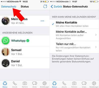 Neue WhatsApp Status-Funktion