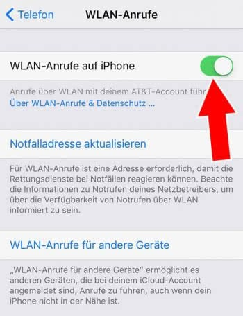 iPhone WLAN Call aktivieren