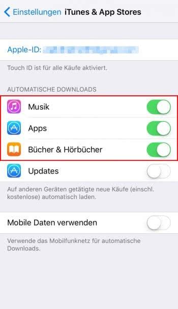 Automatische Downloads (de)aktivieren