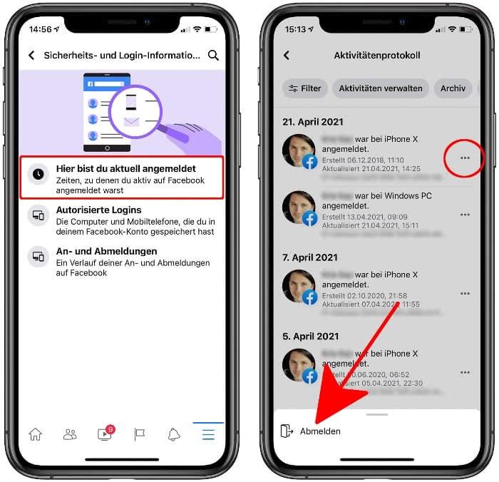 Aktive Sitzung anzeigen und beenden in der Facebook-App