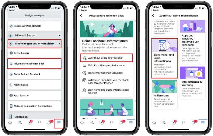 Sicherheits- und Login-Informationen öffnen in der Facebook-App