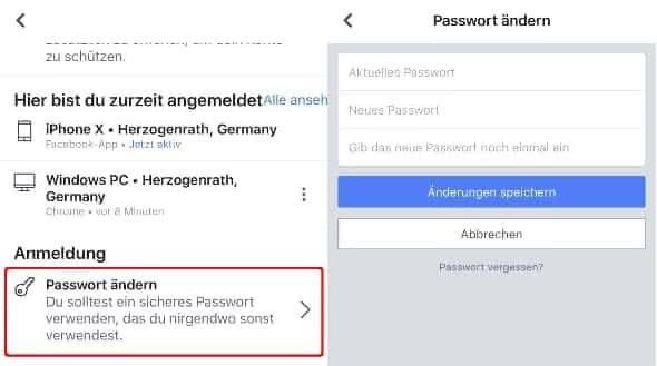 """In der Facebook-App auf """"Passwort ändern"""" tippen"""