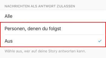 Nachrichten auf Stories einschränken