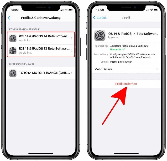 iOS Beta Profil entfernen