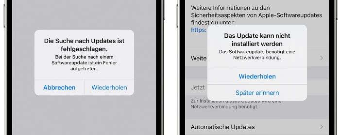 Fehlermeldungen, dass iOS-Update nicht installiert werden kann