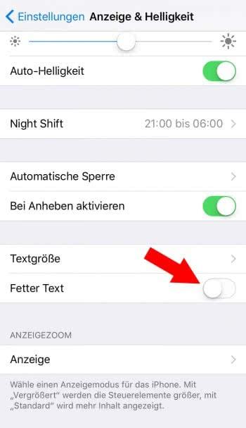 """""""Fetter Text"""" aktivieren"""