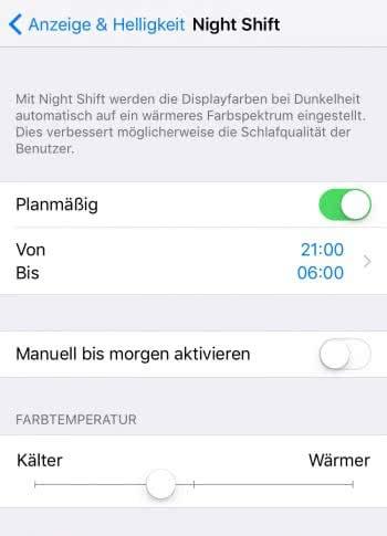 Night Shift verwenden