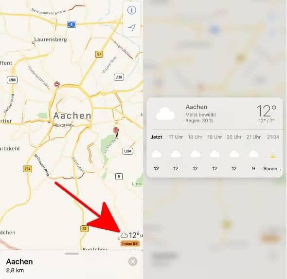 Wetterinfos in der Karten-App anzeigen auf dem iPhone